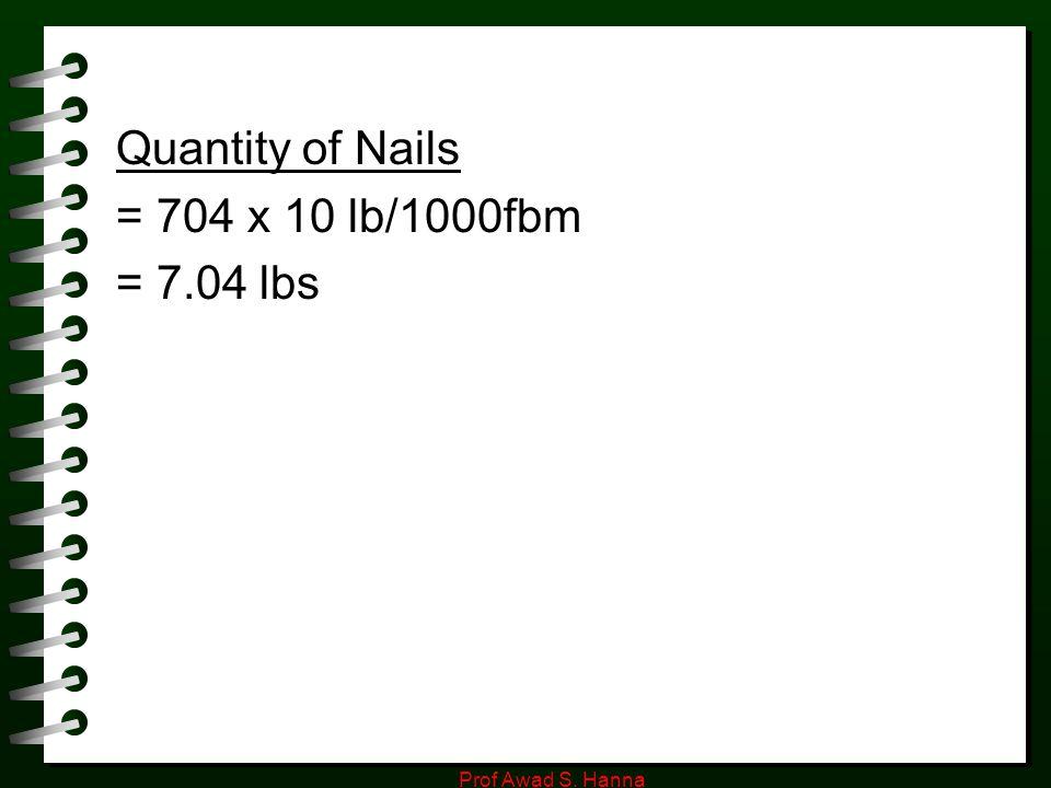 Prof Awad S. Hanna Quantity of Nails = 704 x 10 lb/1000fbm = 7.04 lbs