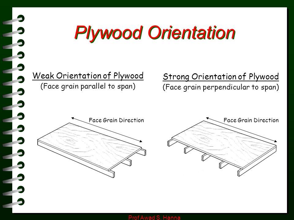 Prof Awad S. Hanna Plywood Orientation Face Grain Direction Weak Orientation of Plywood (Face grain parallel to span) Strong Orientation of Plywood (F