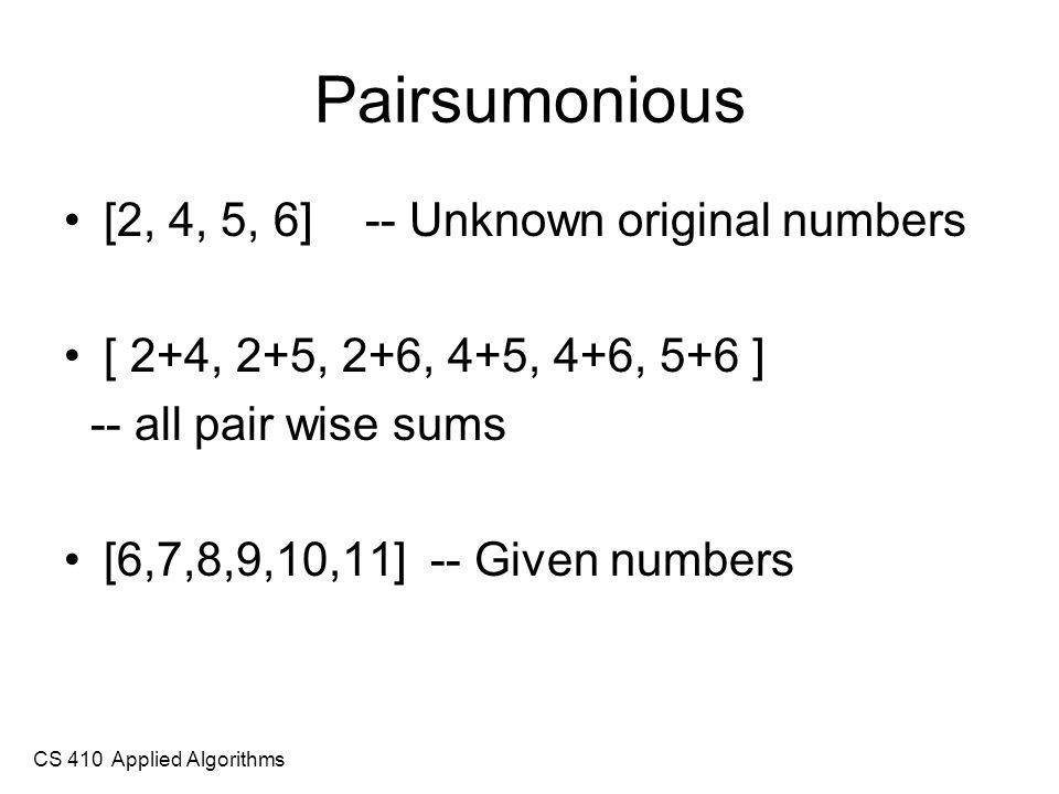 CS 410 Applied Algorithms Computing pair-wise positions N = 4 [[(1,2),(1,3),(1,4)], [(2,3),(2,4)], [(3,4)]] N = 5 [[(1,2),(1,3),(1,4),(1,5)], [(2,3),(2,4),(2,5)], [(3,4),(3,5)], [(4,5)]]