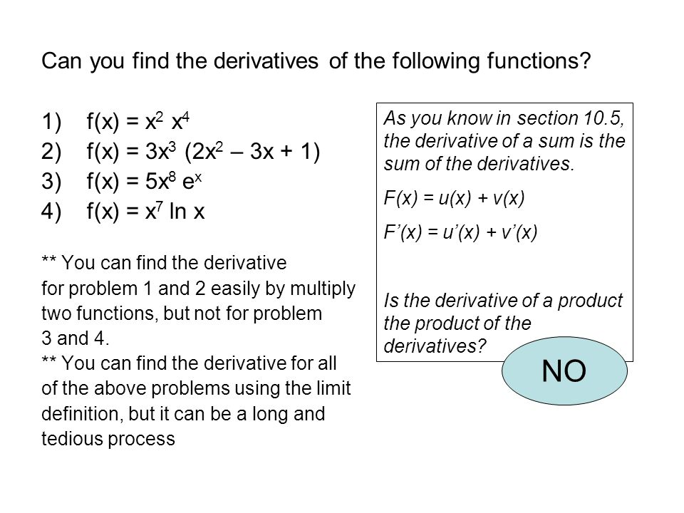 Derivatives of Products In words: The derivative of the product of two functions is the first function times the derivative of the second function plus the second function times the derivative of the first function.