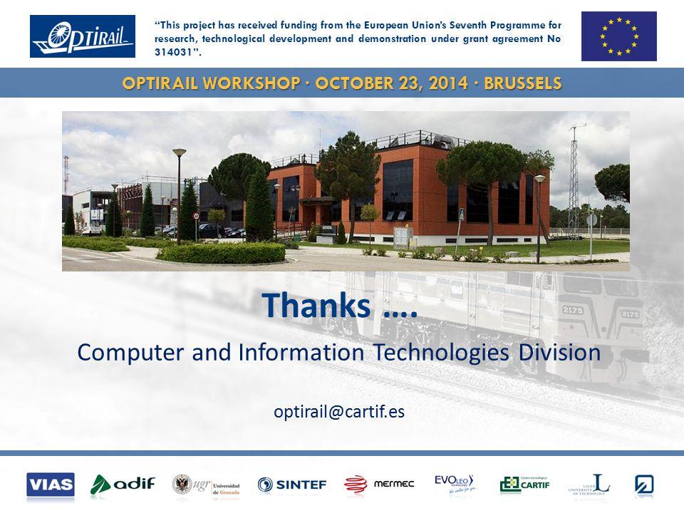 OPTIRAIL WORKSHOP · OCTOBER 23, 2014 · BRUSSELS Thanks ….