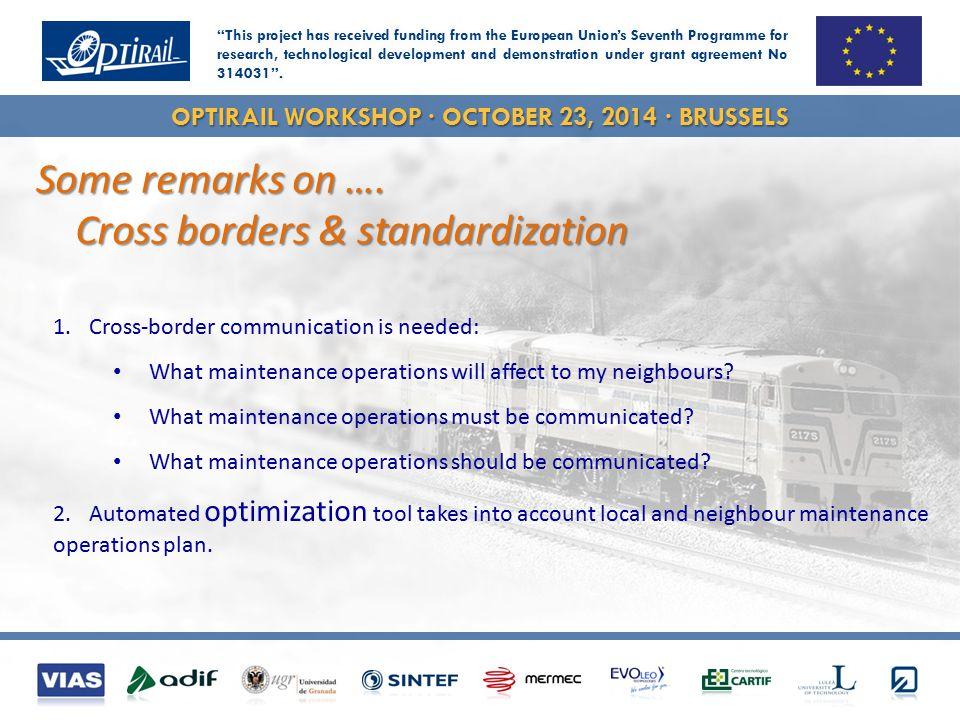 OPTIRAIL WORKSHOP · OCTOBER 23, 2014 · BRUSSELS Some remarks on ….