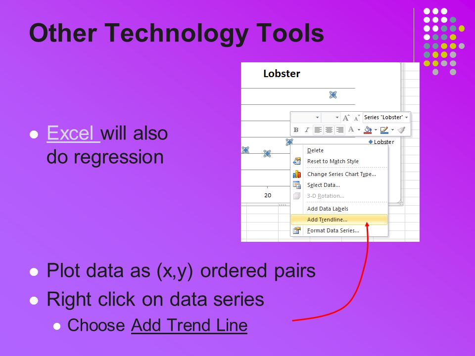 Other Technology Tools Excel will also do regression Excel Plot data as (x,y) ordered pairs Right click on data series Choose Add Trend Line
