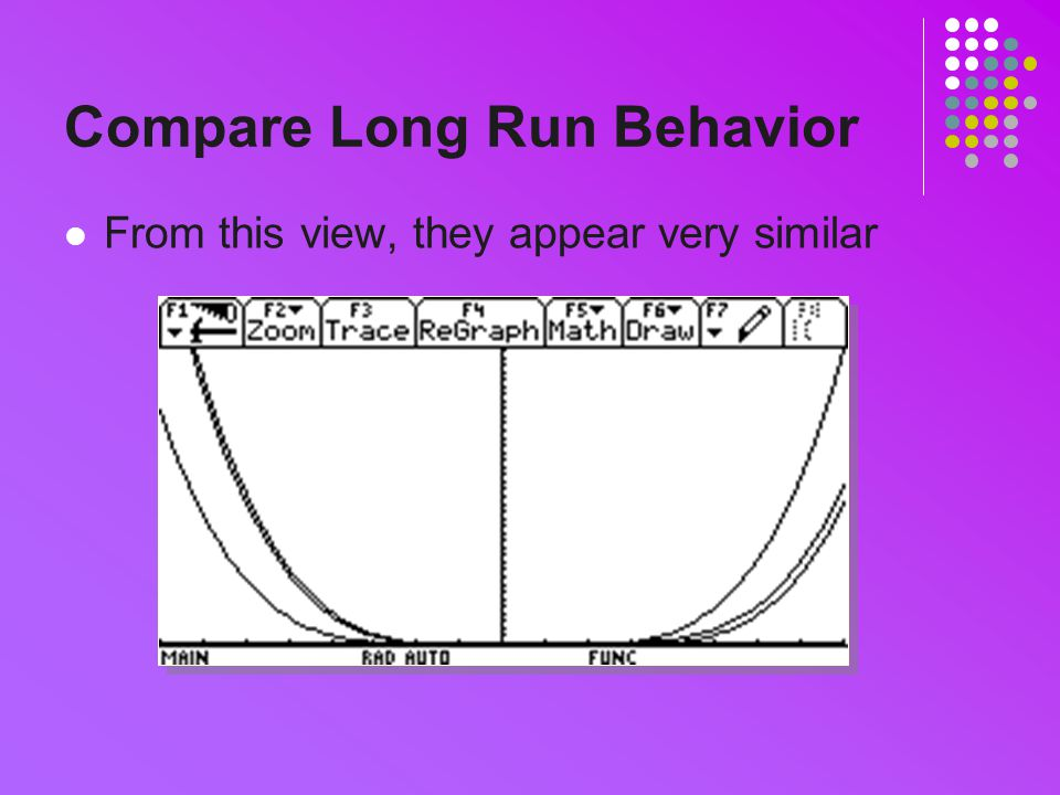 Compare Long Run Behavior From this view, they appear very similar