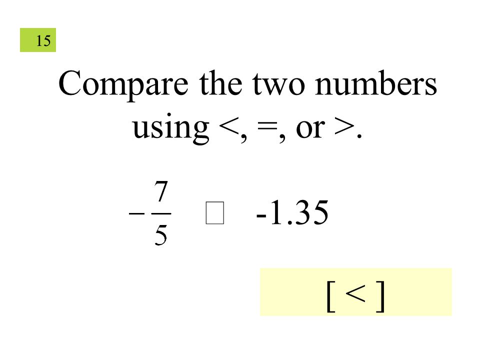 15 Compare the two numbers using.  -1.35 [ < ]