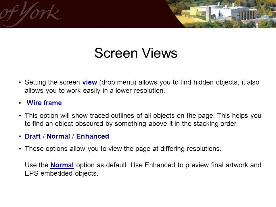 Screen Views Setting the screen view (drop menu) allows you to find hidden objects, it also allows you to work easily in a lower resolution.