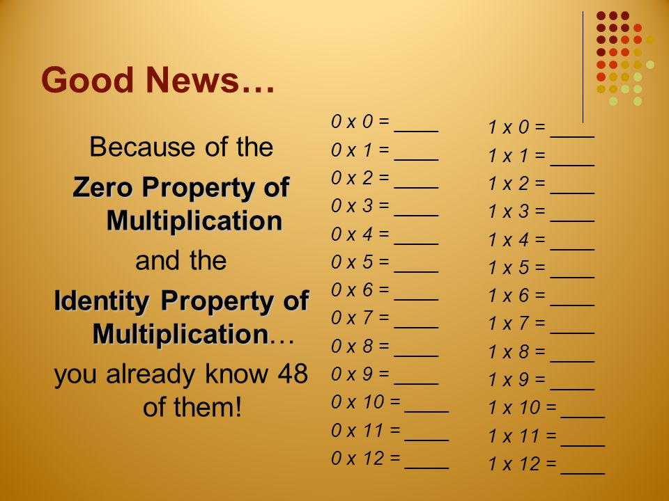 BETTER News… There are 121 facts without the 0's and 1's to learn… But because of the Communtative Property of Multiplication, you don't have to worry about 55 more of them!