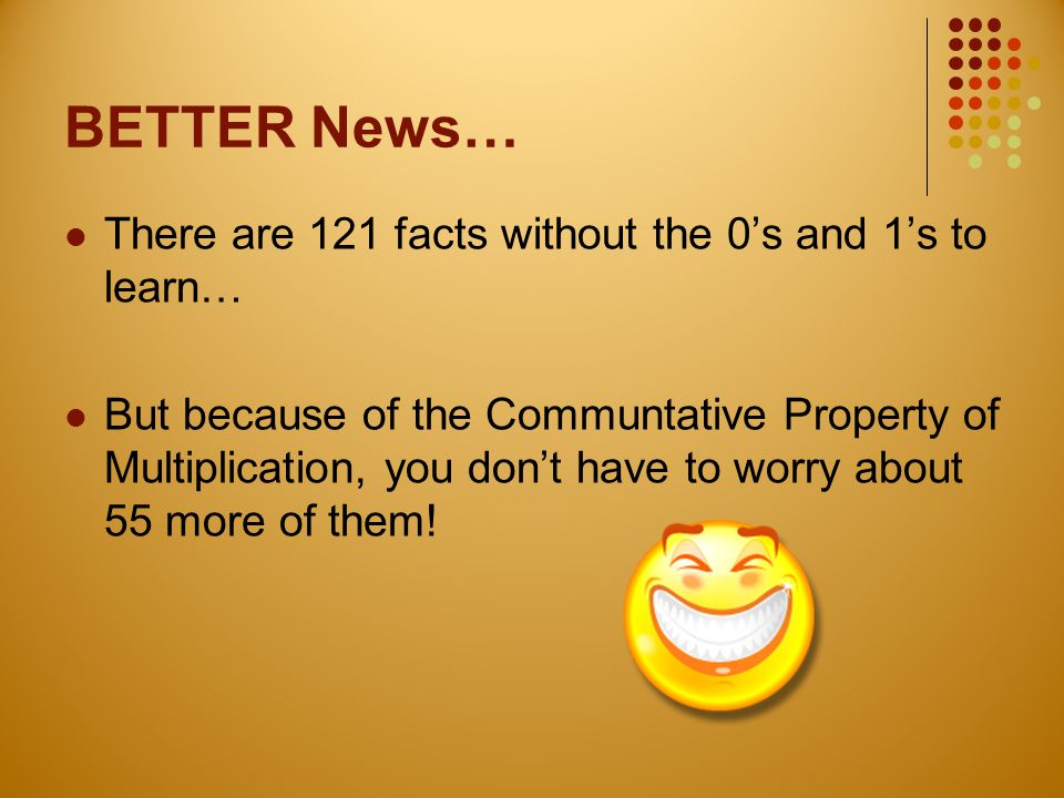 BETTER News… There are 121 facts without the 0's and 1's to learn… But because of the Communtative Property of Multiplication, you don't have to worry