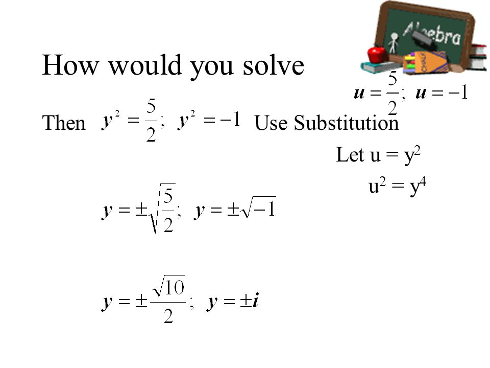 How would you solve Then Use Substitution Let u = y 2 u 2 = y 4