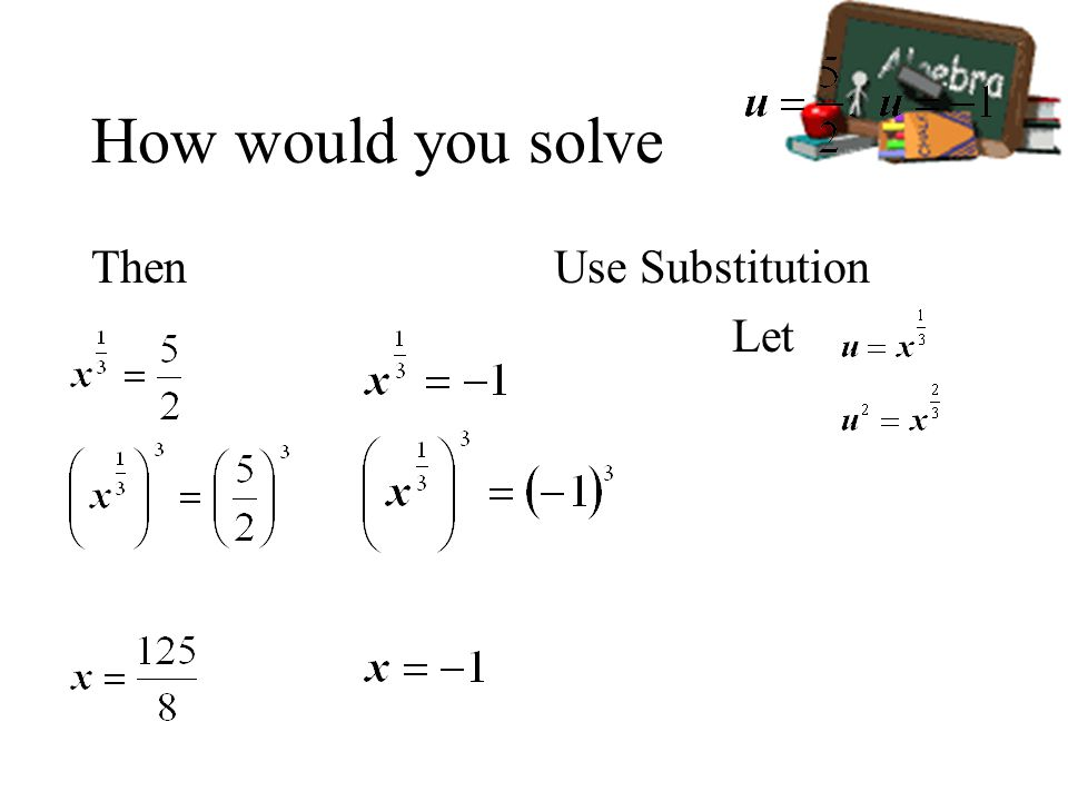 How would you solve Then Use Substitution Let