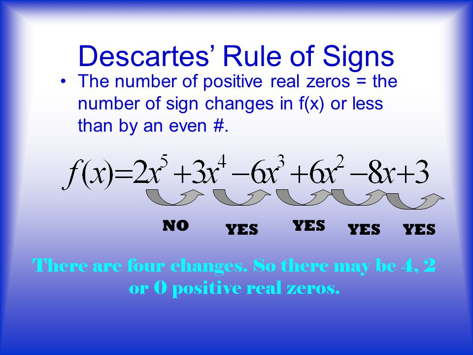 Descartes' Rule of Signs The number of positive real zeros = the number of sign changes in f(x) or less than by an even #.