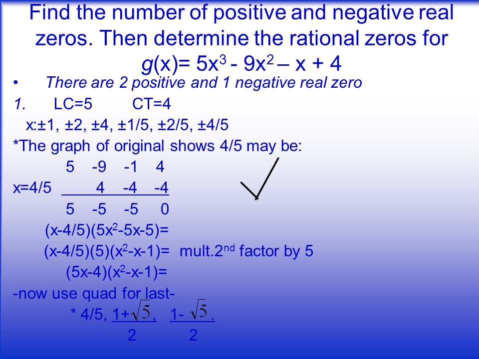 Find the number of positive and negative real zeros.