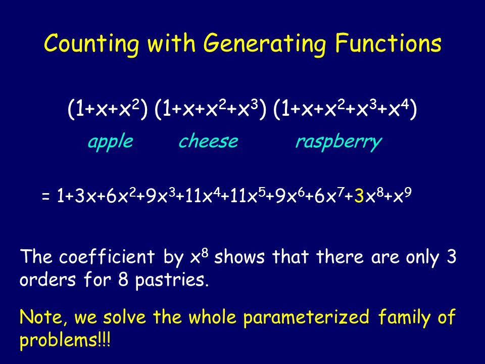 Counting with Generating Functions (1+x+x 2 ) (1+x+x 2 +x 3 ) (1+x+x 2 +x 3 +x 4 ) apple cheese raspberry = 1+3x+6x 2 +9x 3 +11x 4 +11x 5 +9x 6 +6x 7