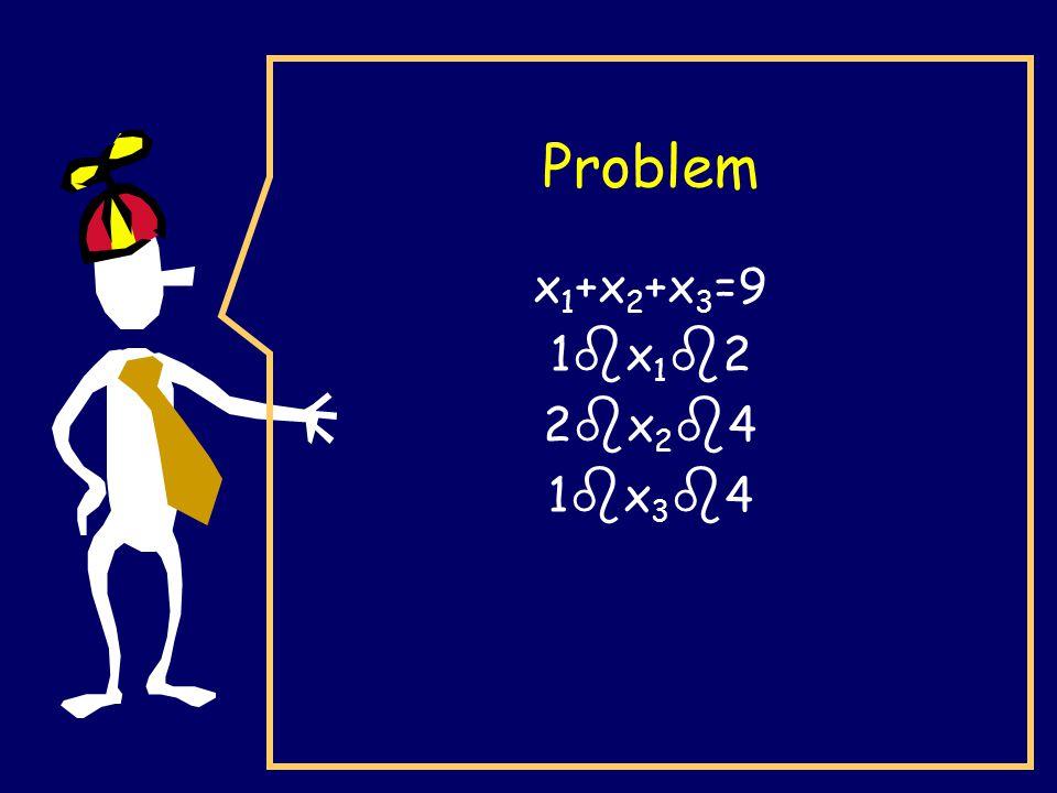 Problem x 1 +x 2 +x 3 =9 1 b x 1 b 2 2 b x 2 b 4 1 b x 3 b 4