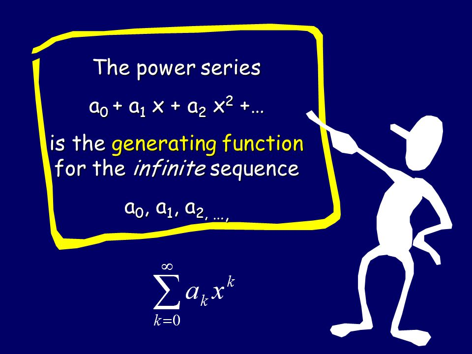 The power series a 0 + a 1 x + a 2 x 2 +… is the generating function for the infinite sequence a 0, a 1, a 2, …,