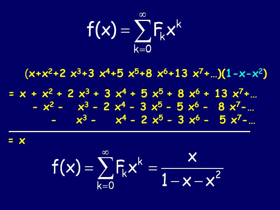 = x (x+x 2 +2 x 3 +3 x 4 +5 x 5 +8 x 6 +13 x 7 +…)(1-x-x 2 ) = x + x 2 + 2 x 3 + 3 x 4 + 5 x 5 + 8 x 6 + 13 x 7 +… - x 2 - x 3 - 2 x 4 - 3 x 5 - 5 x 6 - 8 x 7 -… - x 3 - x 4 - 2 x 5 - 3 x 6 - 5 x 7 -…