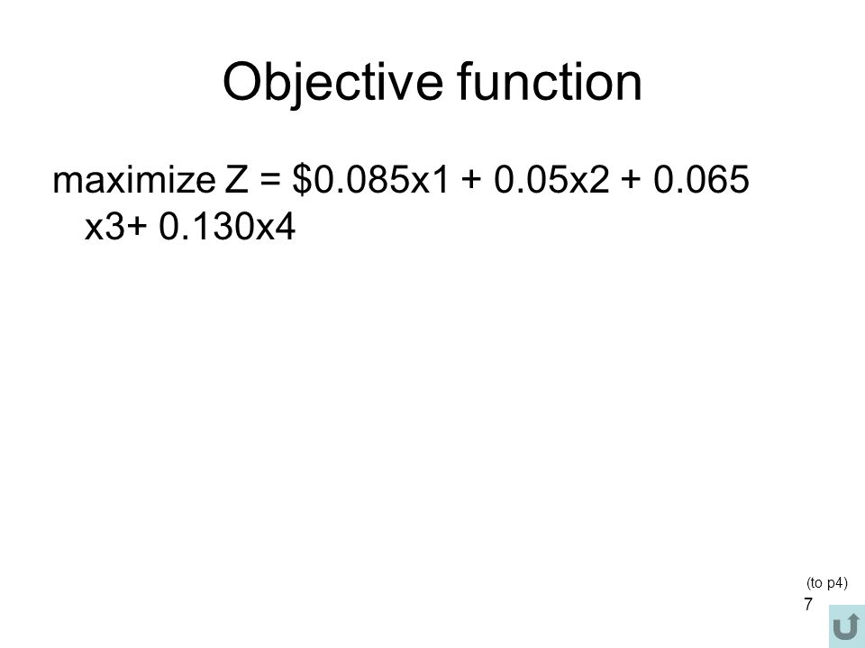 58 An Unbounded Problem Value of objective function increases indefinetly: maximize Z = 4x 1 + 2x 2 subject to x 1  4 x 2  2 x 1, x 2  0 Note: there is no bounded feasible region, thus it cannot find Max Z.