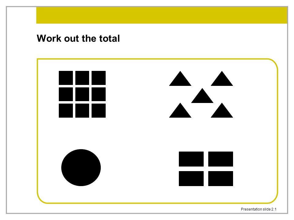 Presentation slide 2.1 Work out the total