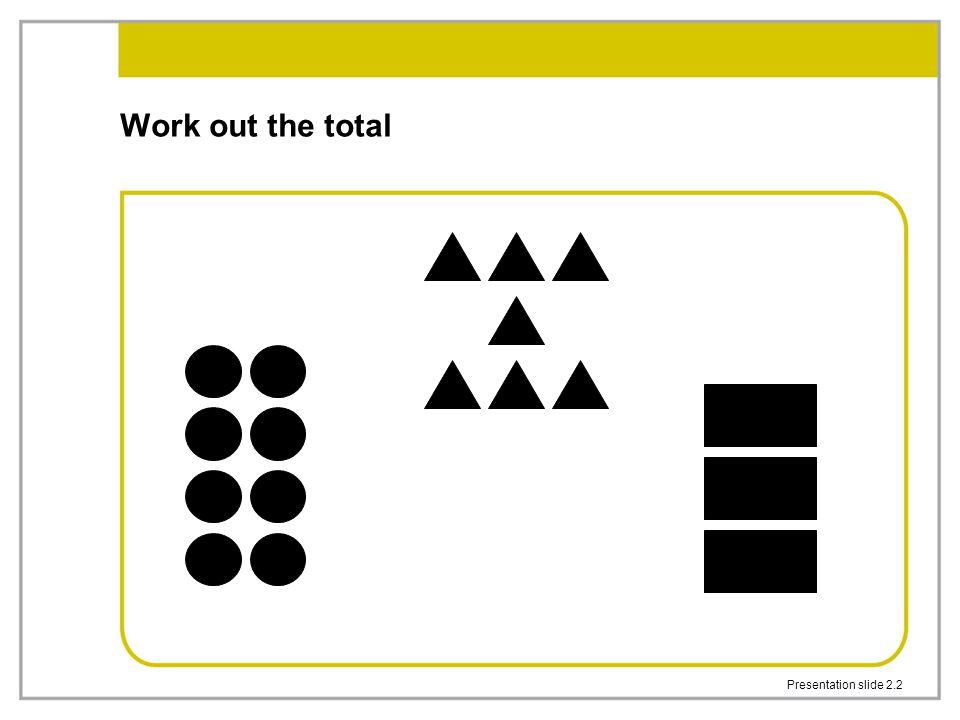 Presentation slide 2.2 Work out the total