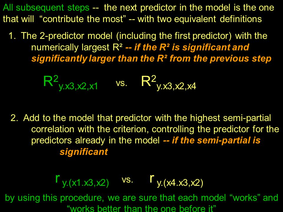 "All subsequent steps -- the next predictor in the model is the one that will ""contribute the most"" -- with two equivalent definitions 1. The 2-predict"