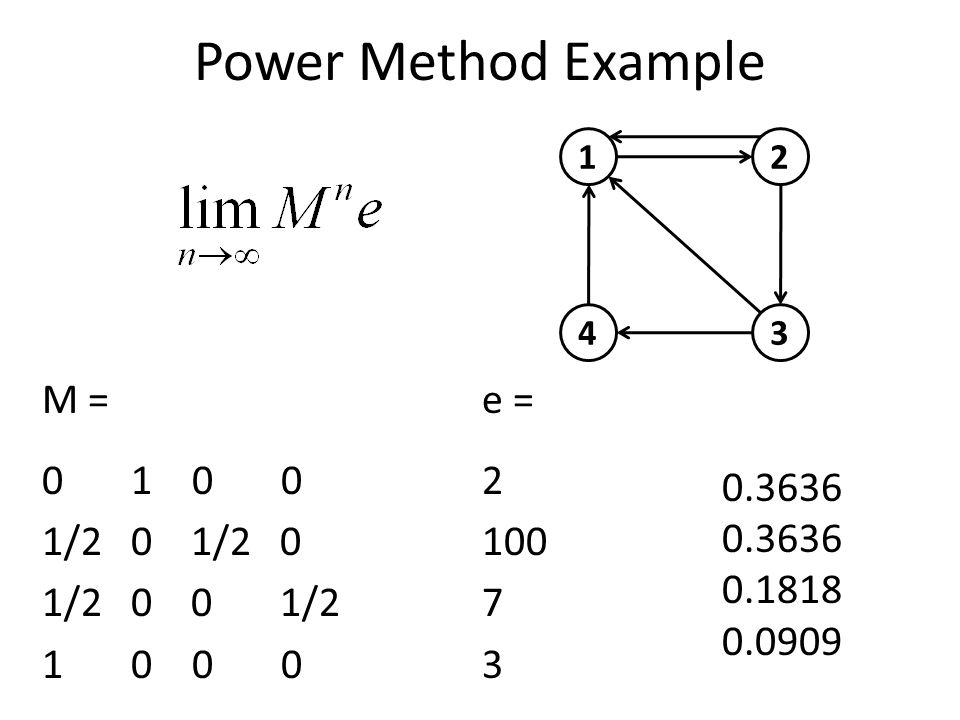 Power Method Example M = 0 1 0 0 1/2 0 1/2 0 0 1/2 1 0 0 0 1 43 2 e = 2 100 7 3 0.3636 0.1818 0.0909