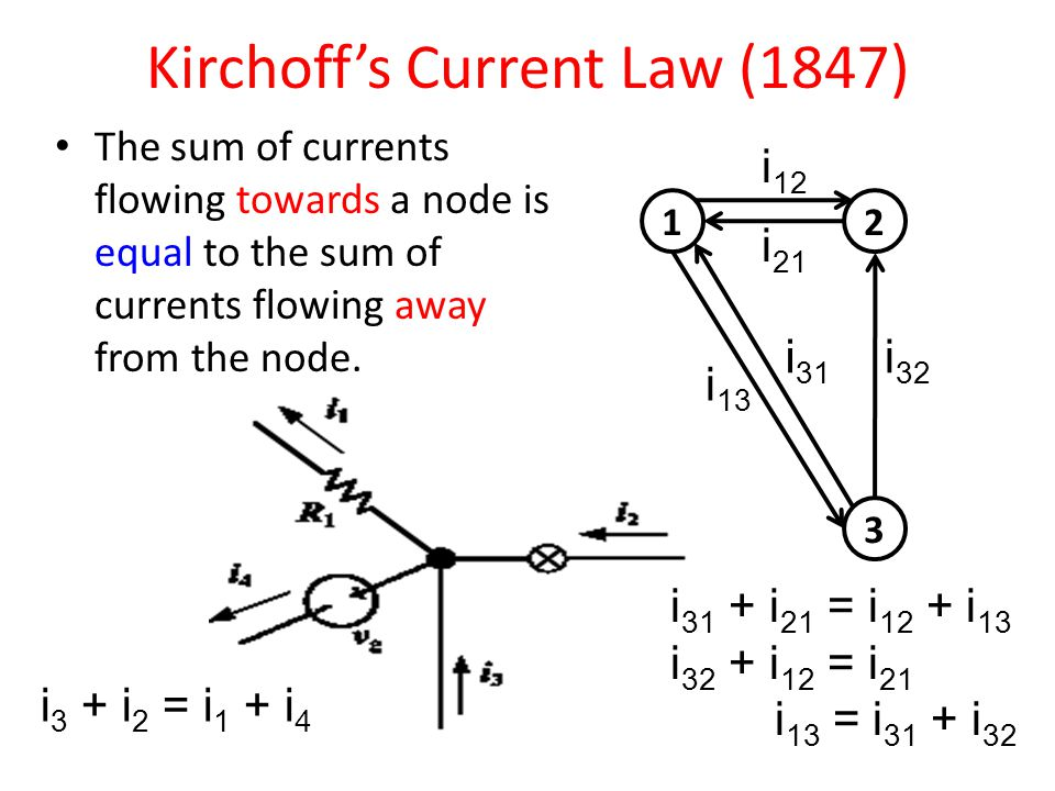 Kirchoff's Current Law (1847) The sum of currents flowing towards a node is equal to the sum of currents flowing away from the node.