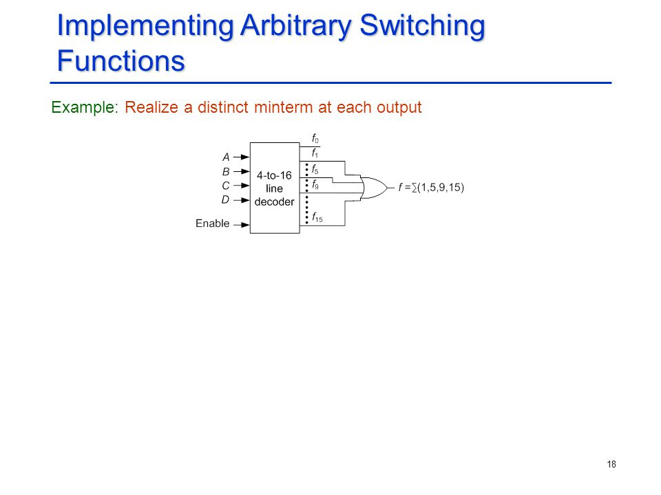 18 Implementing Arbitrary Switching Functions Example: Realize a distinct minterm at each output