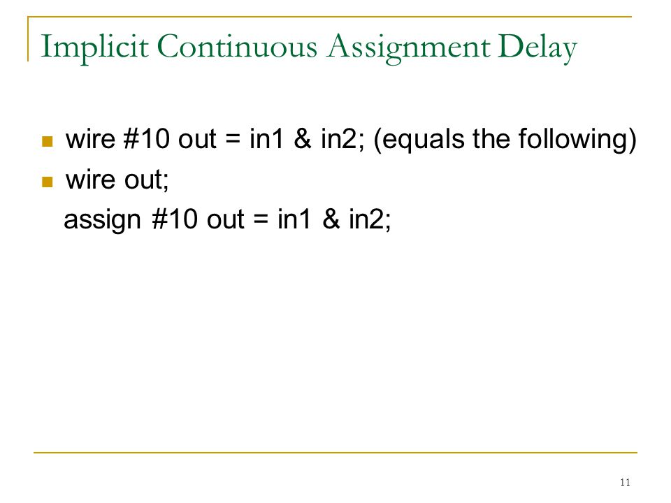 11 Implicit Continuous Assignment Delay wire #10 out = in1 & in2; (equals the following) wire out; assign #10 out = in1 & in2;