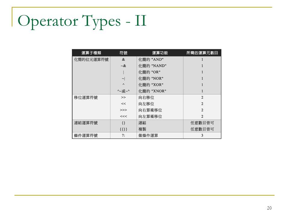 20 Operator Types - II