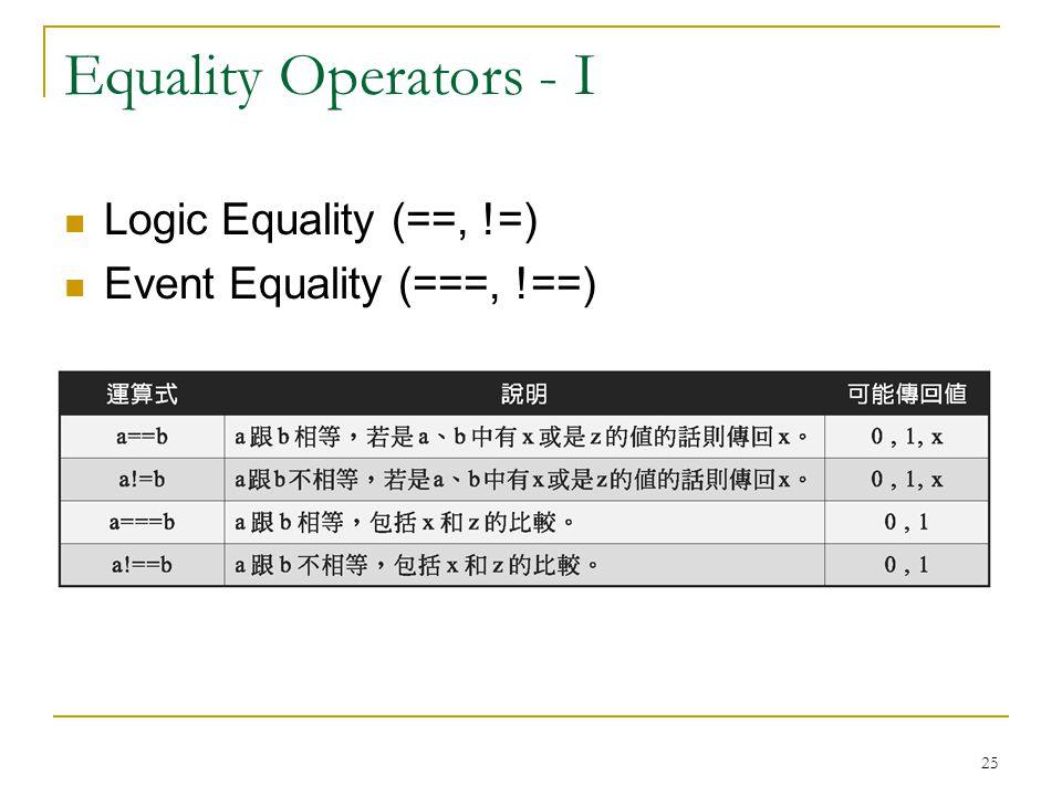 25 Equality Operators - I Logic Equality (==, !=) Event Equality (===, !==)