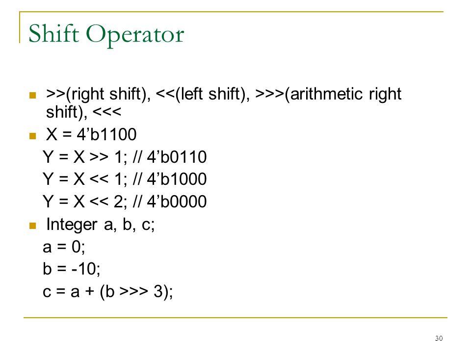 30 Shift Operator >>(right shift), >>(arithmetic right shift), <<< X = 4'b1100 Y = X >> 1; // 4'b0110 Y = X << 1; // 4'b1000 Y = X << 2; // 4'b0000 In