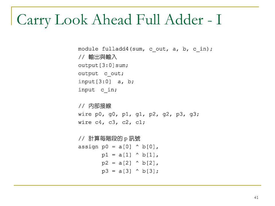 41 Carry Look Ahead Full Adder - I
