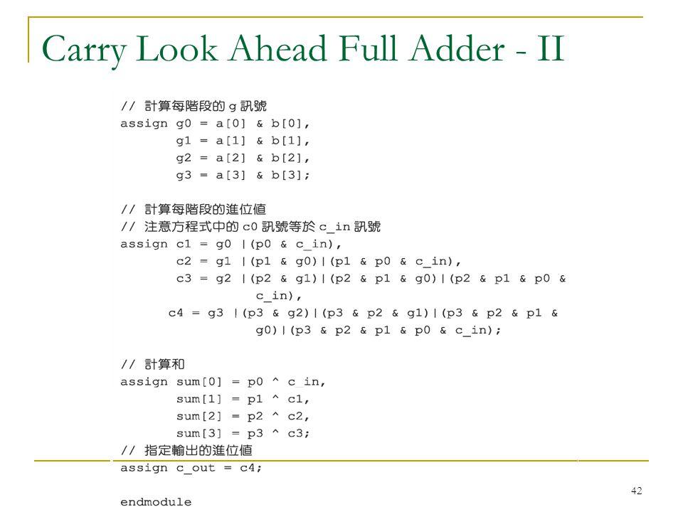 42 Carry Look Ahead Full Adder - II