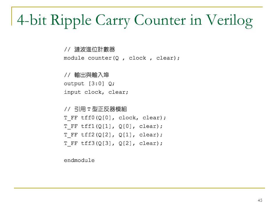 45 4-bit Ripple Carry Counter in Verilog