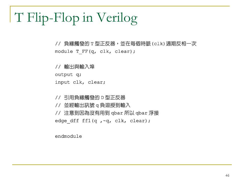 46 T Flip-Flop in Verilog