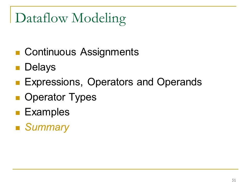 51 Dataflow Modeling Continuous Assignments Delays Expressions, Operators and Operands Operator Types Examples Summary