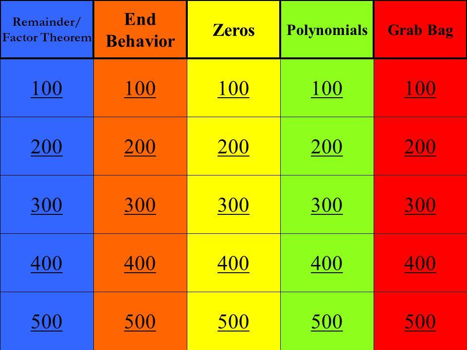 End Behavior 100 Main Get Answer Describe the end behavior of f(x) = -6x 17 + 5x 4 – 8x 2 + 10 As x  +, f(x)  ______ As x  -, f(x)  ______