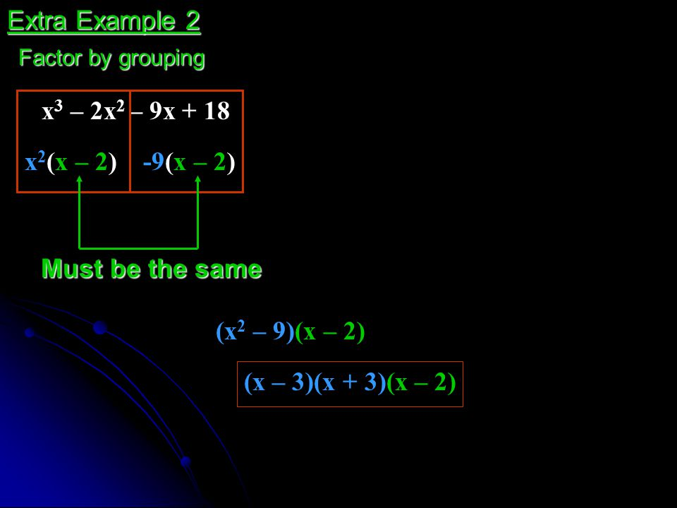 Must be the same x 2 (x – 2) x 3 – 2x 2 – 9x + 18 (x 2 – 9)(x – 2) Extra Example 2 Factor by grouping -9(x – 2) (x – 3)(x + 3)(x – 2)