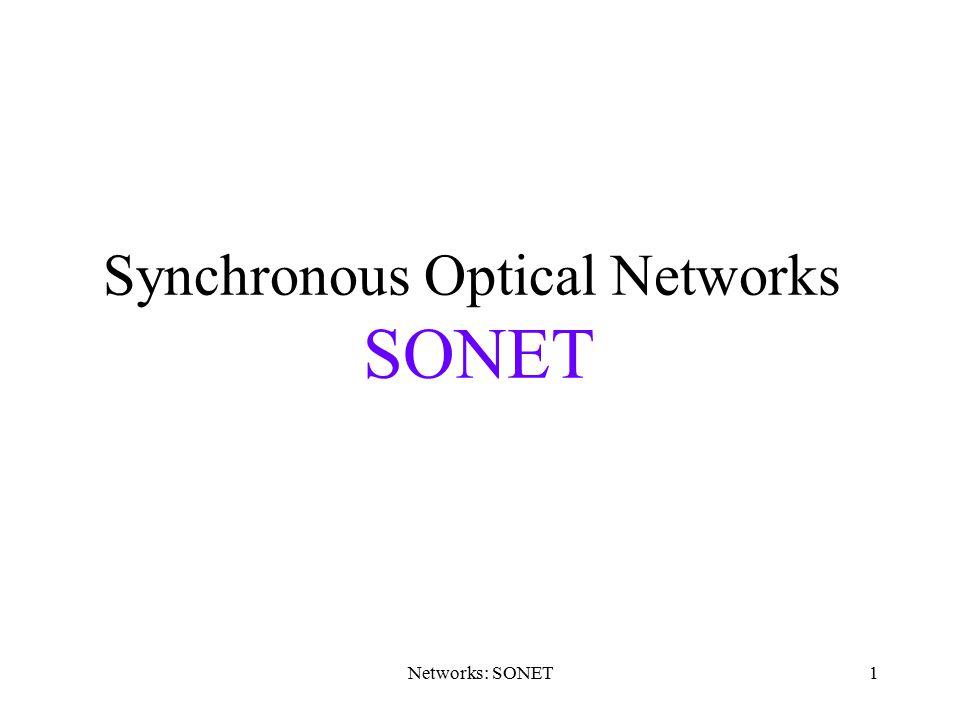 Networks: SONET1 Synchronous Optical Networks SONET