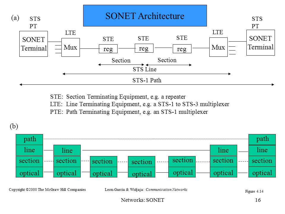 Networks: SONET16 STE: Section Terminating Equipment, e.g. a repeater LTE: Line Terminating Equipment, e.g. a STS-1 to STS-3 multiplexer PTE: Path Ter