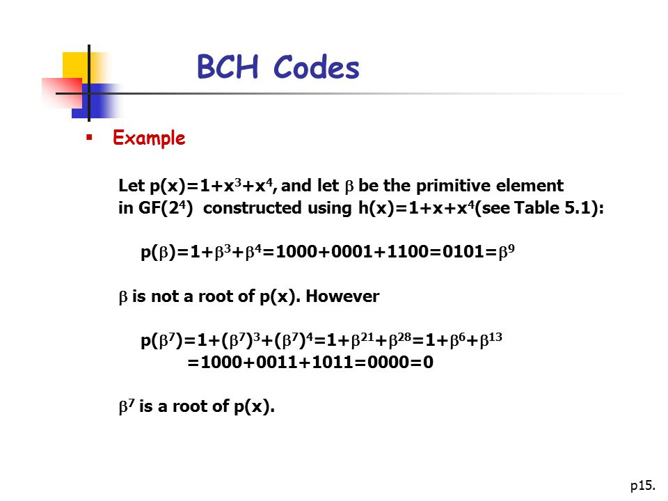 p15. BCH Codes  Example Let p(x)=1+x 3 +x 4, and let  be the primitive element in GF(2 4 ) constructed using h(x)=1+x+x 4 (see Table 5.1): p(  )=1+