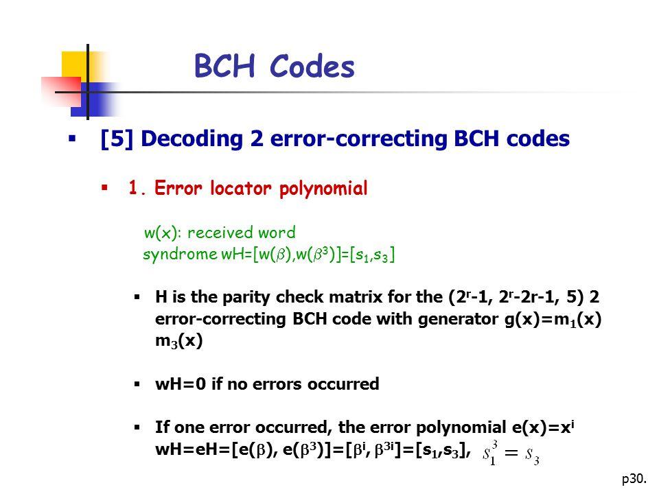 p30.BCH Codes  [5] Decoding 2 error-correcting BCH codes  1.