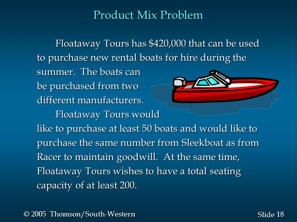 18 Slide © 2005 Thomson/South-Western Product Mix Problem Floataway Tours has $420,000 that can be used to purchase new rental boats for hire during the summer.
