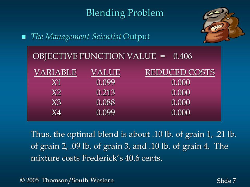 28 Slide © 2005 Thomson/South-Western n Sensitivity Report Product Mix Problem
