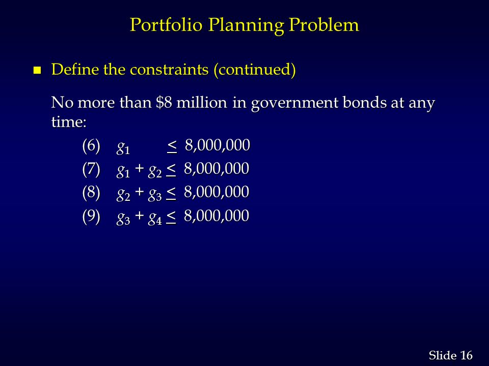 16 Slide Portfolio Planning Problem n Define the constraints (continued) No more than $8 million in government bonds at any time: (6) g 1 < 8,000,000 (6) g 1 < 8,000,000 (7) g 1 + g 2 < 8,000,000 (7) g 1 + g 2 < 8,000,000 (8) g 2 + g 3 < 8,000,000 (8) g 2 + g 3 < 8,000,000 (9) g 3 + g 4 < 8,000,000 (9) g 3 + g 4 < 8,000,000