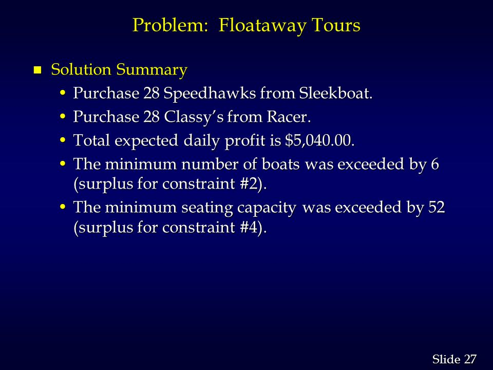 27 Slide Problem: Floataway Tours n Solution Summary Purchase 28 Speedhawks from Sleekboat.Purchase 28 Speedhawks from Sleekboat.