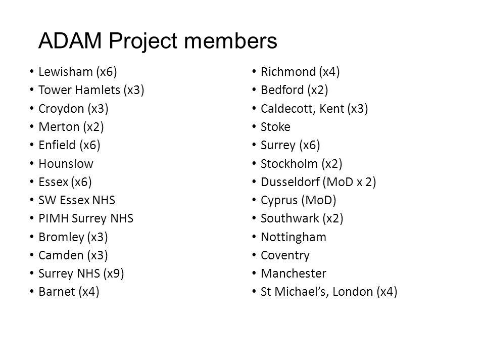 ADAM Project members Lewisham (x6) Tower Hamlets (x3) Croydon (x3) Merton (x2) Enfield (x6) Hounslow Essex (x6) SW Essex NHS PIMH Surrey NHS Bromley (x3) Camden (x3) Surrey NHS (x9) Barnet (x4) Richmond (x4) Bedford (x2) Caldecott, Kent (x3) Stoke Surrey (x6) Stockholm (x2) Dusseldorf (MoD x 2) Cyprus (MoD) Southwark (x2) Nottingham Coventry Manchester St Michael's, London (x4)