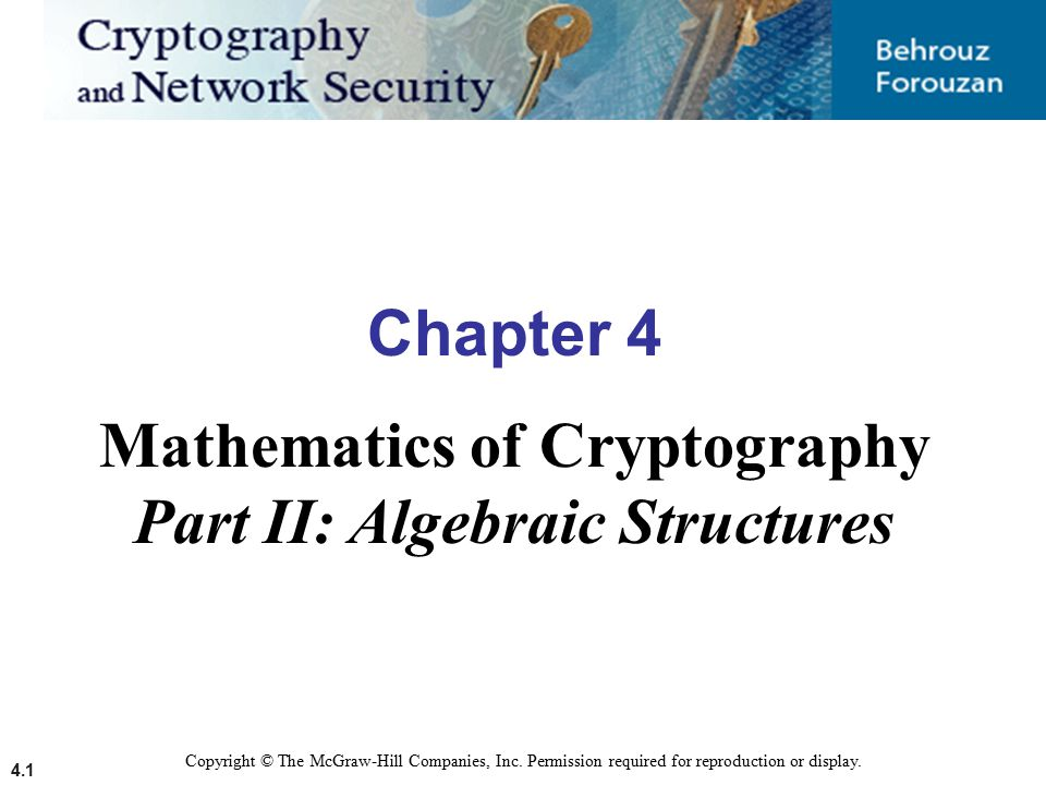 4.1 Copyright © The McGraw-Hill Companies, Inc. Permission required for reproduction or display. Chapter 4 Mathematics of Cryptography Part II: Algebr