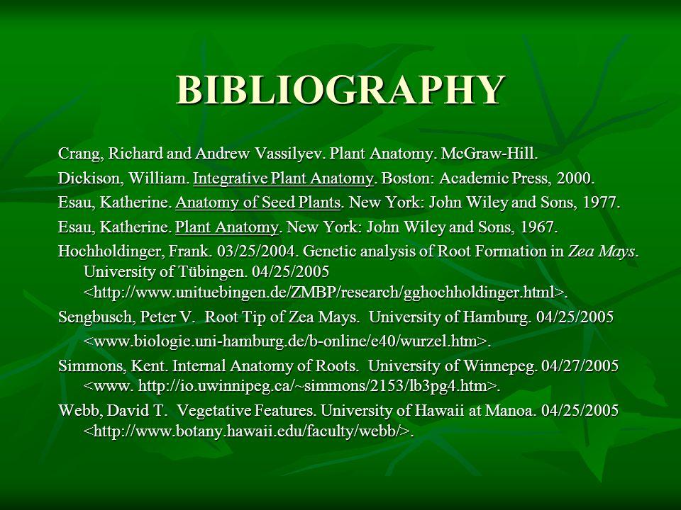 BIBLIOGRAPHY Crang, Richard and Andrew Vassilyev. Plant Anatomy. McGraw-Hill. Dickison, William. Integrative Plant Anatomy. Boston: Academic Press, 20