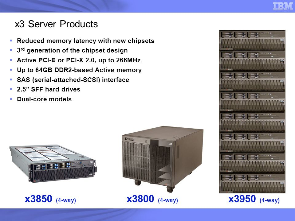 x3 Server Products  Reduced memory latency with new chipsets  3 rd generation of the chipset design  Active PCI-E or PCI-X 2.0, up to 266MHz  Up t
